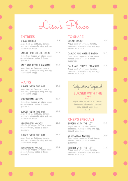 Yellow & Pink Polka Dot Menu Template