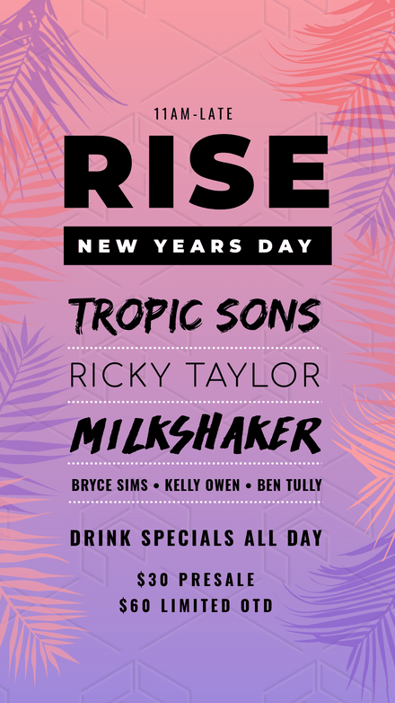 NYD Rise party with Pastel Palm Tree Graphics