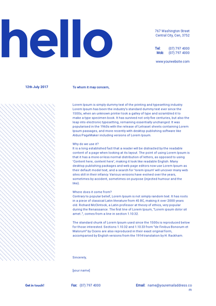 Letterhead template with large hello feature