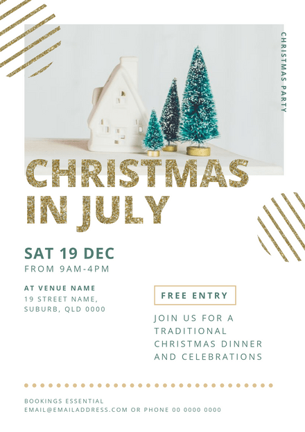 Christmas in July Modern White Template