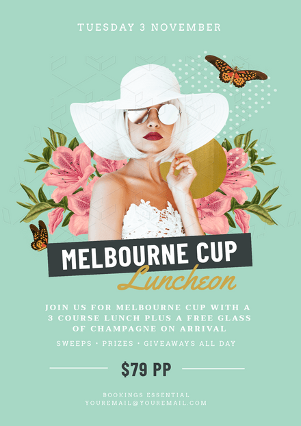 Melbourne Cup Template with lady in hat & butterfly montage