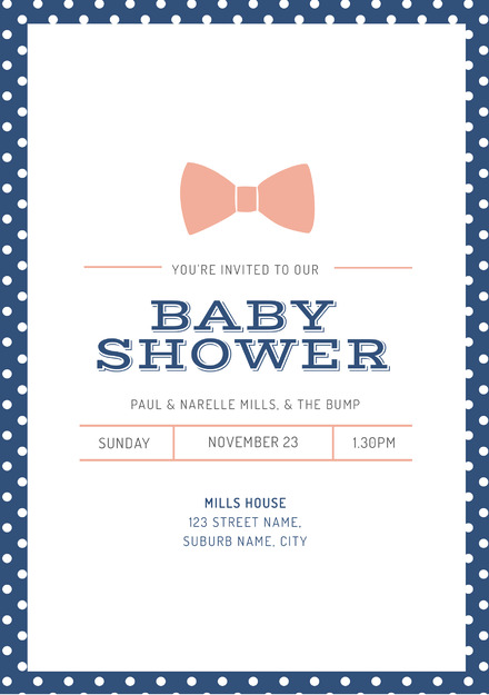 dark blue and white polka dot baby shower template with light pink
