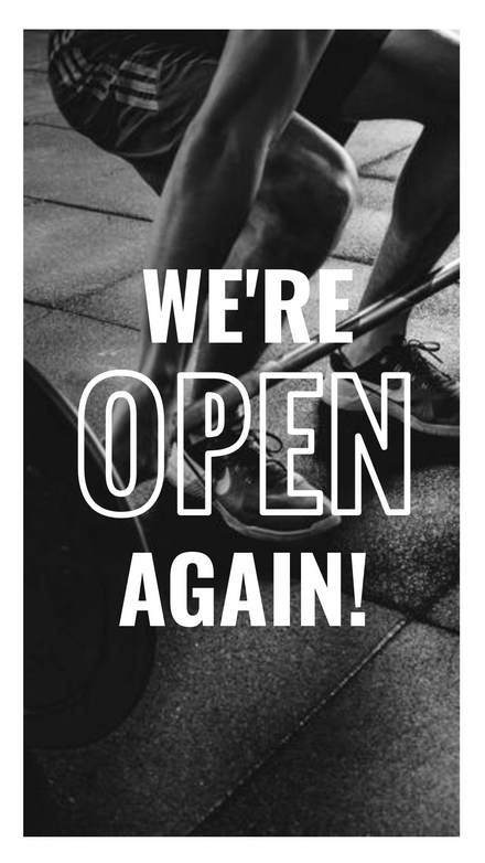 We're Open Again - Gym Mono Graphic Template