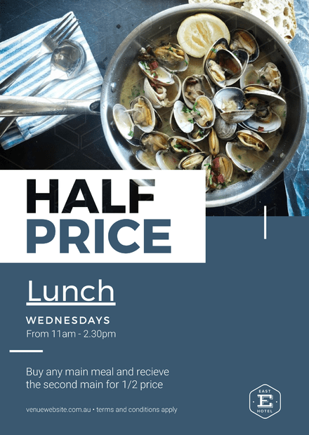half price lunch template with plate of mussels image easil