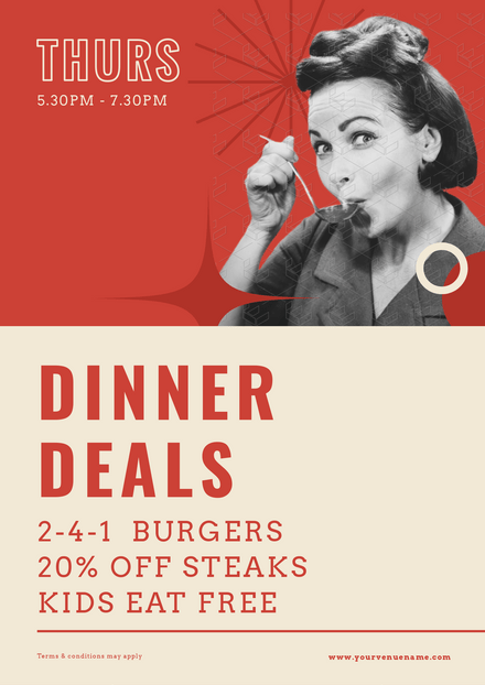 Dinner Deals - Vintage Style Template (Drinking Soup)