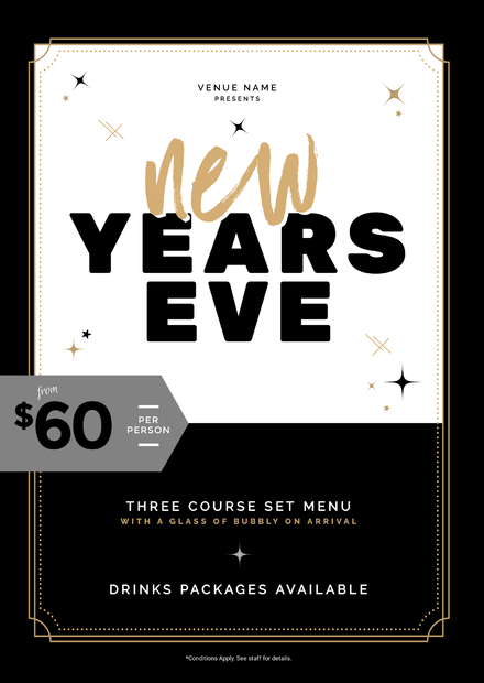 black white and gold theme new years eve graphic with sparkles