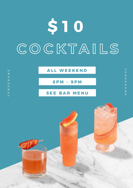 Cocktails Promotion Marbled Image Template
