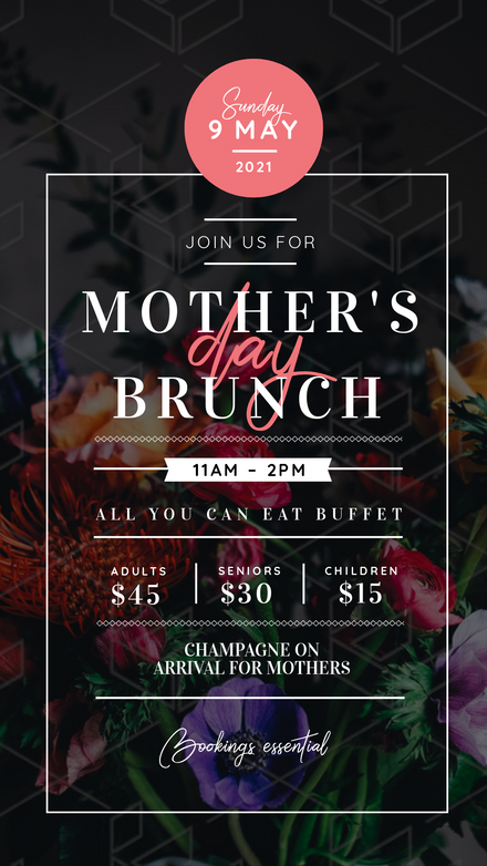 Mother's Day Brunch Beautiful dark floral event Template