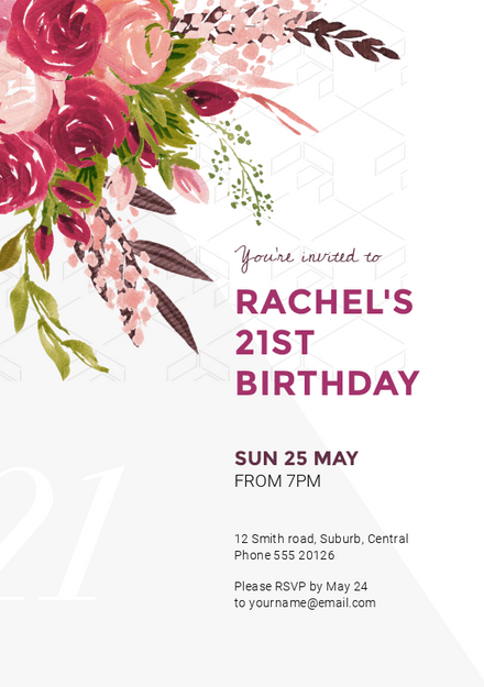 Colorful Floral Bouquet Birthday Wedding Invitation