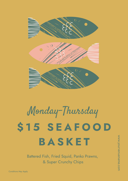 Hand Illustrated Pastel Series: Seafood Basket