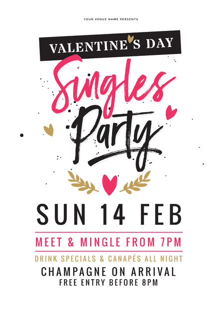 Valentines Day Singles Party Design on white background