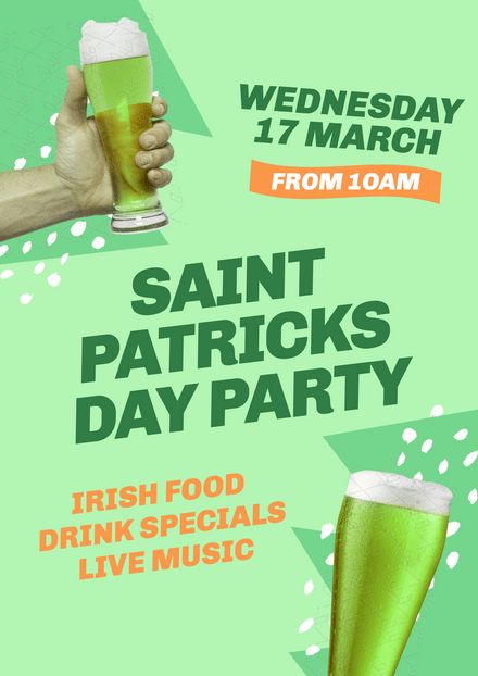 Saint Patricks Day Party Template with hand holding beer & abstract shapes