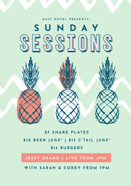 Sunday Sessions Template with Pineapple Graphics