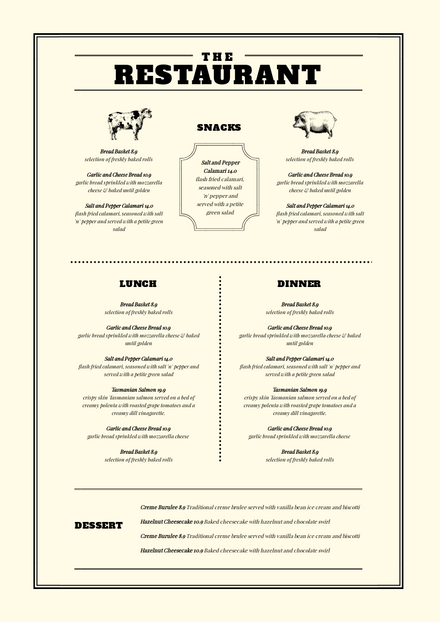 Cream Dining Menu Template With Feature Line Elements Easil