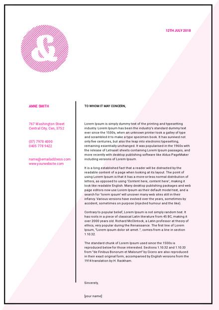 Pink & White Modern Letterhead Template