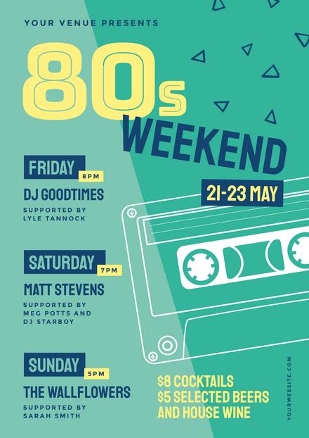 80s Weekend Casette Design Template