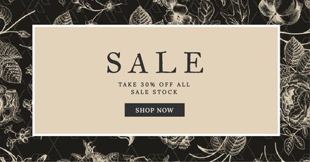 Enjoy Off Sale Retail Graphic Template With Floral Background - Facebook ad design template