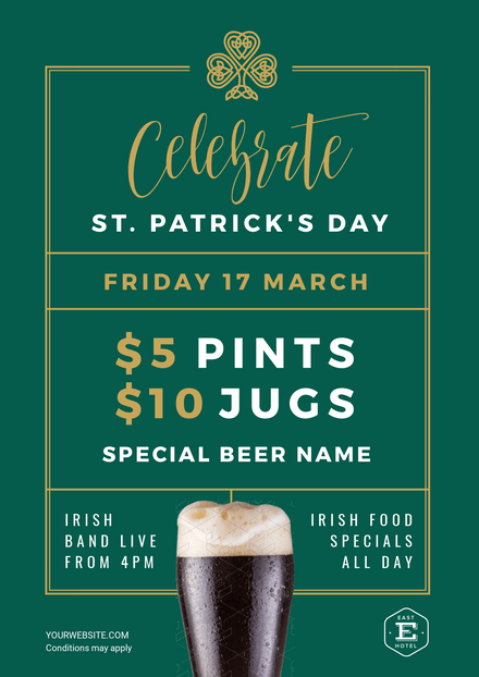 Celebrate St Patricks Day Green & Gold Design with Stout Image
