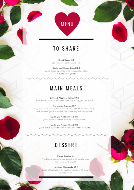 Valentine's Day Menu with Rose petal background