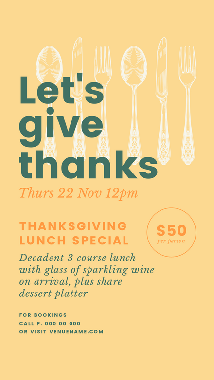 Let's Give Thanks - Thanksgiving template with cutlery graphics