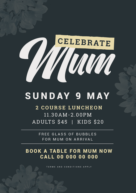 Celebrate Mom - Mother's Day Event template with dark floral theme