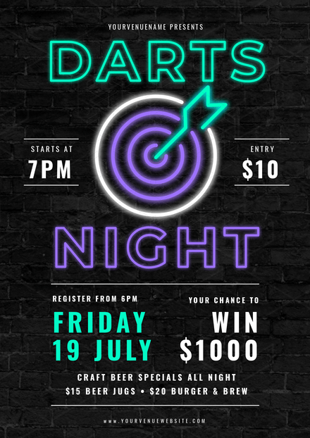Darts Night - Neon Effect Template