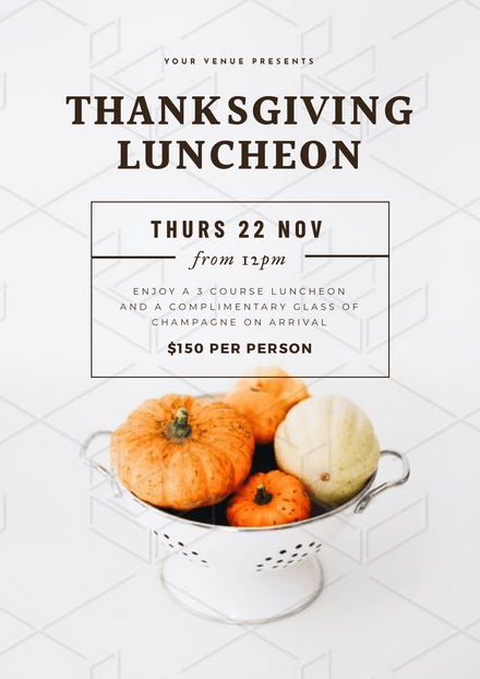 Thanksgiving Luncheon Template with bowl of pumpkins image