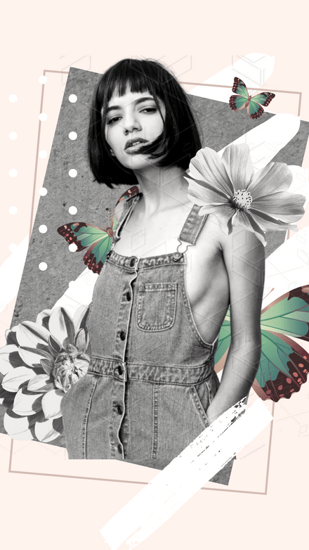 Mono + Butterfly Collage Template