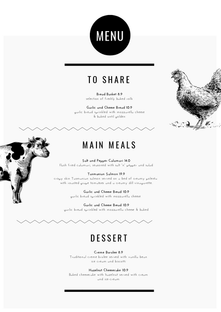 minimalist menu black white diy template easil