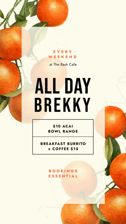All Day Brekky Template with Fruit Background