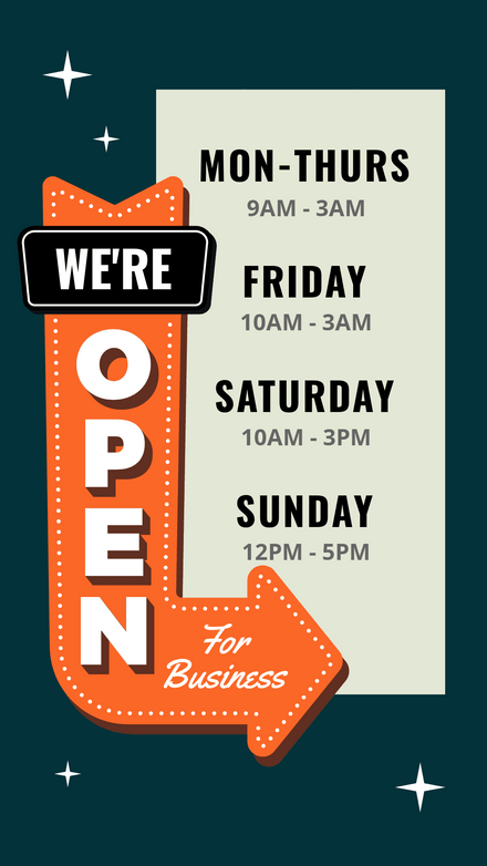We're Open Retro Sign with Open Hours