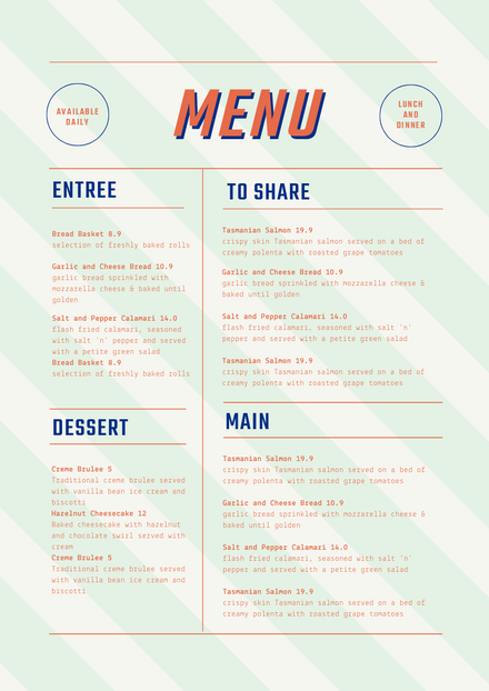 Cafe Style Modern Menu Template with Diagonal Lines