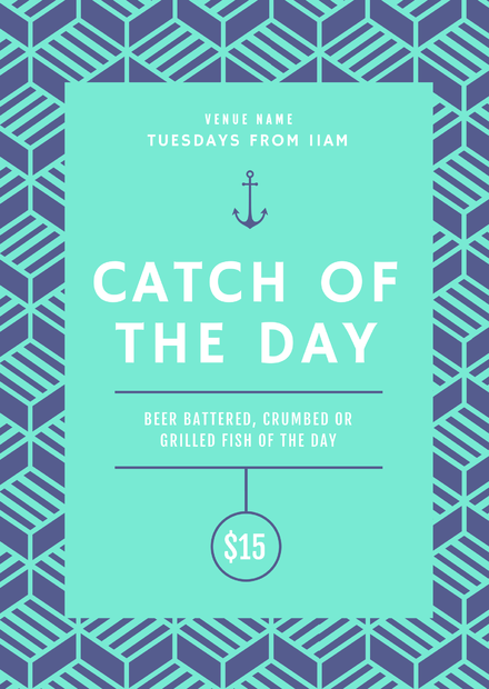 catch of the day food promotion template with pattern background easil