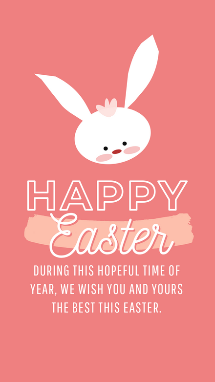 Happy Easter - Pink Bunny Message Template