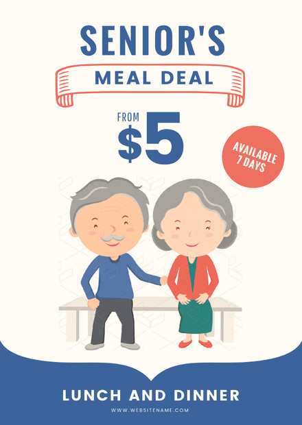 Senior's Meal Deal Promotion with Cartoon Grandma and Grandpa