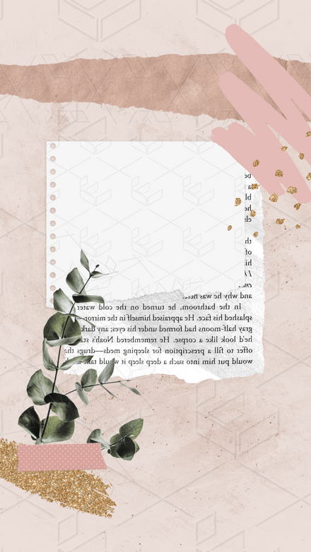 Collage: Vintage Pink Eucalyptus Glitter Paper