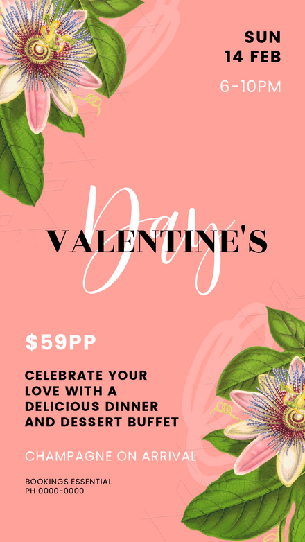 Valentine's Day Passion Flower Template