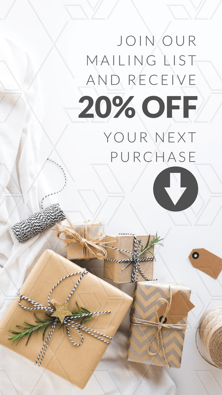 Join our mailing list for 20% Off - Graphic Template