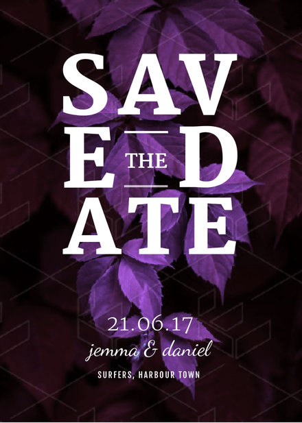 save the date free wedding invitation template with purple leaves