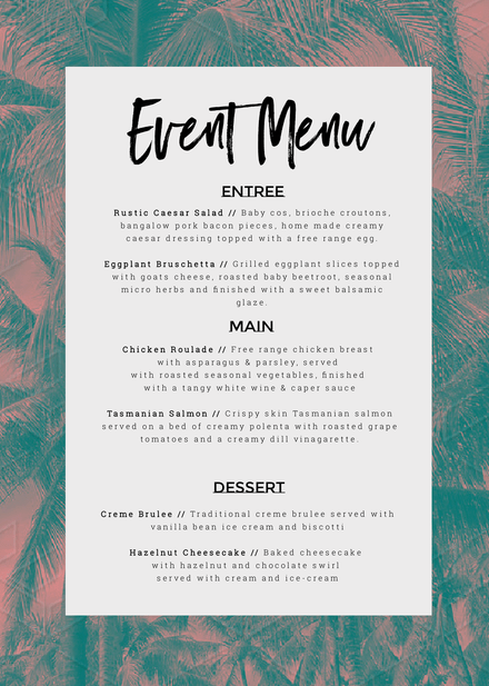 event menu customizable template with tropical palm background
