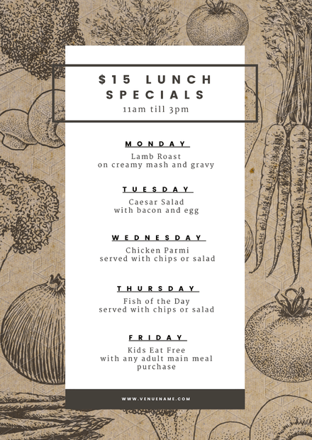 15 lunch specials menu template on recycled texture background easil
