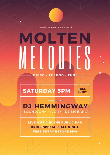 Molten Melodies Nightclub Promotion Poster