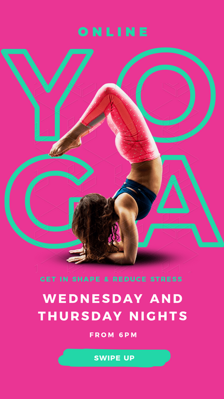 Online Yoga Classes - Hot Pink & Green Template