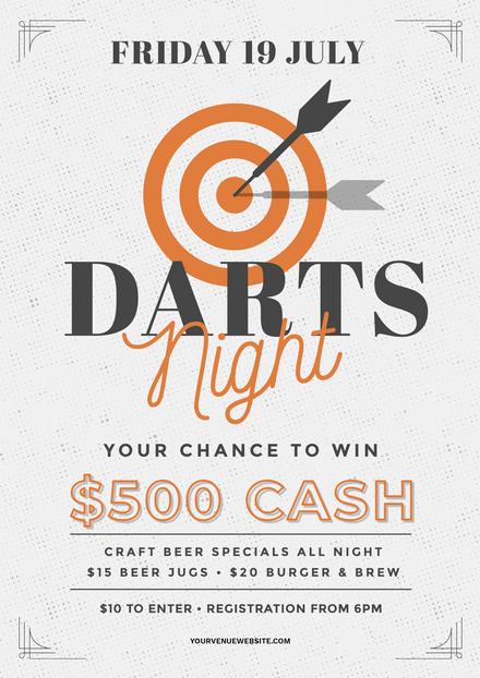 Darts Night - White & Orange Template