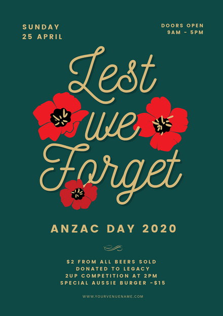 Anzac Day - Lest We Forget Graphic Template