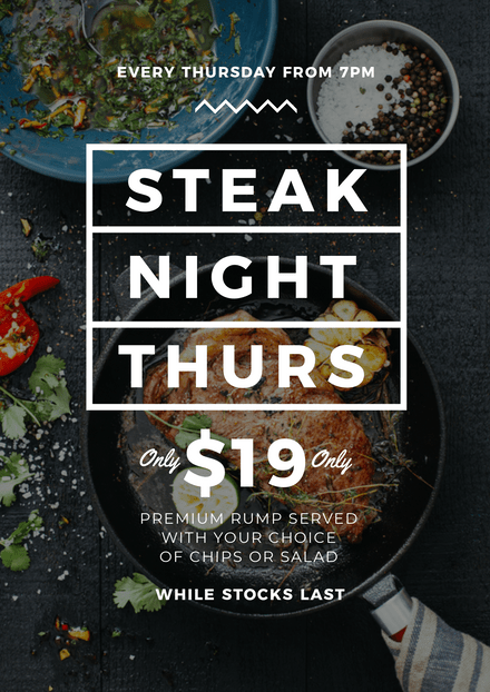 Black & White Steak Night Template with Top View of Steak in Pan