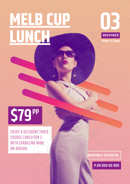 Melbourne Cup Lunch Modern Template with Line Graphics