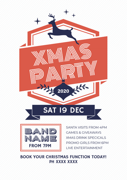 Christmas Party Even Template with Reindeer element