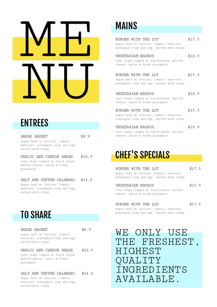Yellow and Blue Highlighter Menu Template