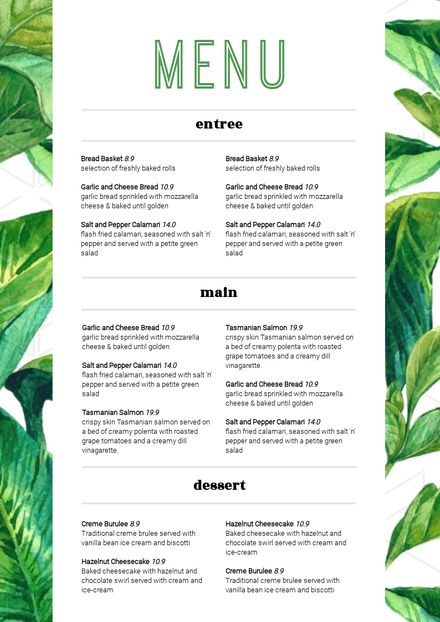 Green and White Tropical Leaves Customizable Menu Template